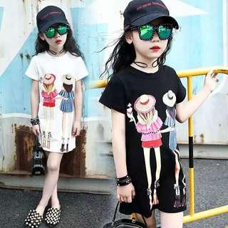💥中大童裝-預購H026禾《夏季韓版女童女孩印花中長款上衣》