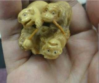 古董 可愛小狗 牙雕