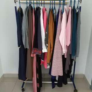 Assorted clothes (tops, baju kebarung, baju kurung lace,skirt,jubah etc)