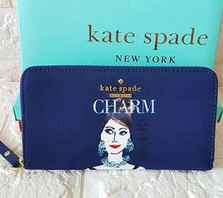 Kate Spade Lyla Charm Wallet In Blue