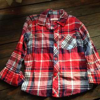 Plaid long sleeved shirt for boys