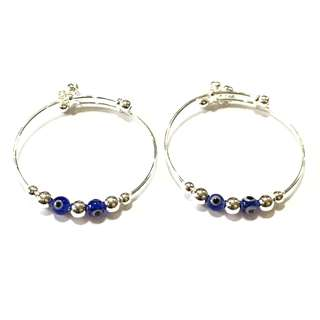 🚚 Pure Silver Kids Bangles with Evil Eye Charm