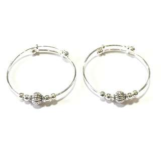 🚚 Pure Silver Kids Bangles with Silver Ball Charm