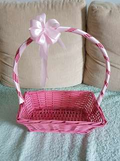 Pink Gift Basket with Ribbon