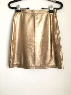 Opening Ceremony Gold Leather Skirt