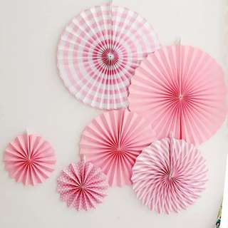 Whole Set Deco Pink Paper Fans