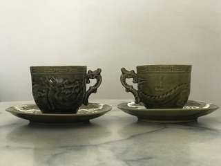 Dragon cups and saucers