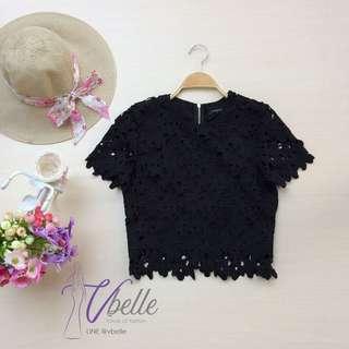 Emily black crochet top