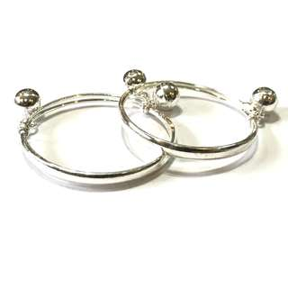🚚 Pure Silver Kids Bangles with Big Sound Beads