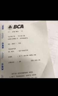 PENIPU No rekening BCA , hati hati jika dapat No rekening tersebut