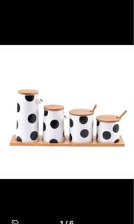 🚚 Marimekko-Inspired Polka Dot Condiment Set