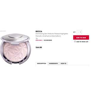 BECCA shimmering skin perfecter highlighter - prismatic amethyst LIMITED EDITION