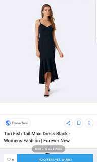 Forever new black fishtail formal dress size 8