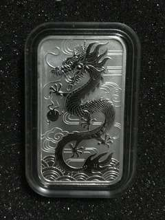 2018 Australia 1 oz Silver Dragon BU (with Capsule)