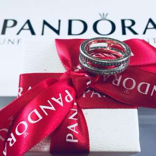 Pandora Essence Rose Ring with Zirconia Stones 92.5 Sterling Silver (Available Sizes 5-9)