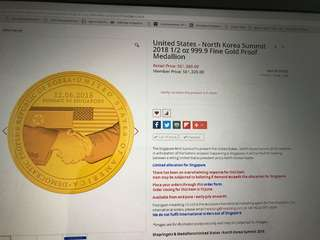 US - North Korea Summit Gold Medallion.