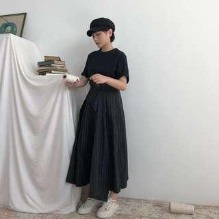 VM 清新 文輕 森林系少女 小眾 直條紋設計 高腰不規則設計可調節一片式長裙