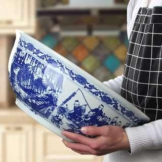 "16"" Oriental Blue White Narcissus / Fish Bowl"