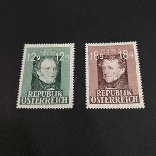 Austria 1947. Featuring Franz Schubert & Franz Grillparzer complete stamp set