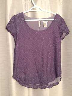 Purple lace blouse from aritzia