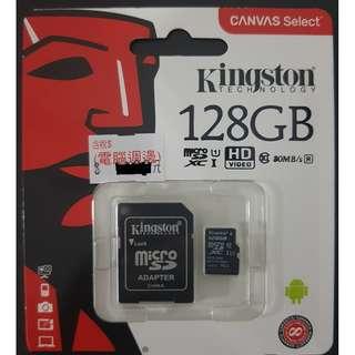 售全新保固Kingston 金士頓 128GB Micro SD SDXC MicroSD Class10 記憶卡 TF