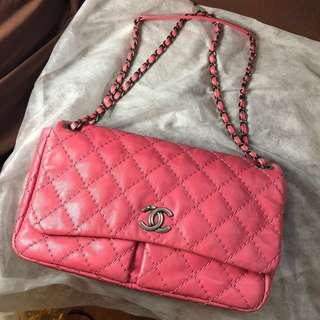 Chanel 桃紅格紋大size袋 帶可較長短 可換其他chanel袋