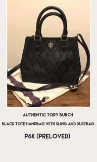 Black Tote Handbag with Sling and Dustbag Preloved