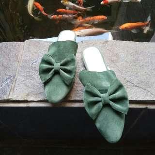 green bow mules sepatu sandal slip on selop
