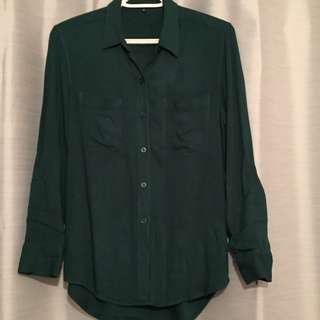 Aritzia green button up blouse