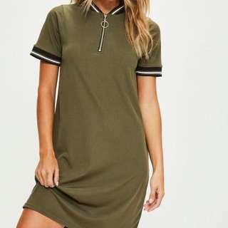 Misguided Khaki Sports Ribbed Detail Shift Dress