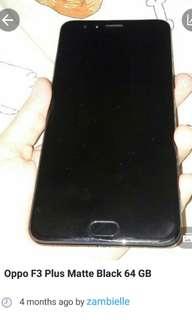Oppo F3 Plus MATTE BLACK