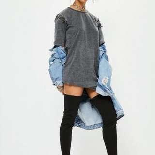 Missguided Grey Eyelet Lace Up Sleeve Wash T-Shirt Dress