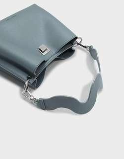 Charles & Keith Wavy Strap Handbag (Steel Blue)