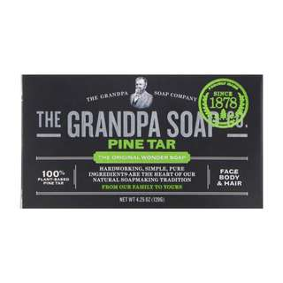 🚚 🔴INSTOCK🔴 Grandpa's, Face Body & Hair Bar Soap, Pine Tar, 120g