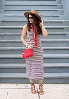Stripe Sexy Back Dress