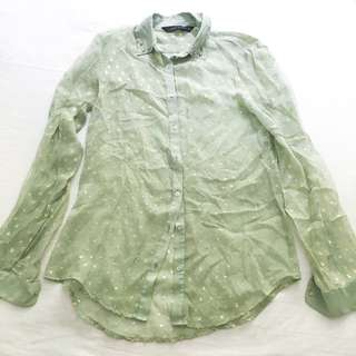 ZARA green chiffon button down shirt