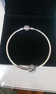 Pandora Bracelet 手镯 手串 潘多拉silver bangle and charm 银手镯+银珠