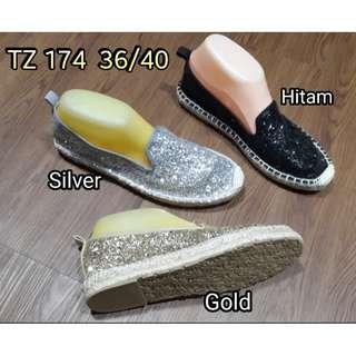 Flat shoes slip on gliter import