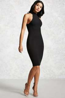 Sale! FOREVER 21 BLACK BODYCON FITTED MIDI DRESS