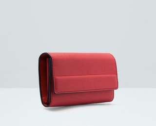 Original  MANGO (red) Flap saffiano-effect wallet