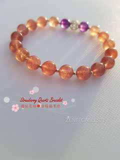 ZENFI CAELESTE handmade bracelet. Strawberry Quartz. Natural gemstone. Healing Crystal with Silver 925. Fashion Jewellery.