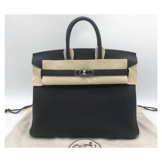 Authentic Hermes Birkin 25 Black Phw