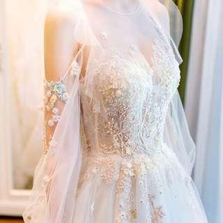 Light wedding dress 2018 new thin one shoulder long tail princess dream trip  bride dress