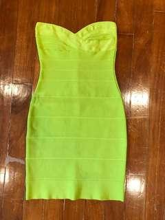 Herve Leger lime green cocktail dress