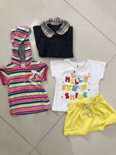 Zippy, Burberry, Snoopy, atasan rok dress anak