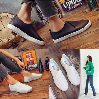 Slip on leather sneakers / slip on leather shoes / white leather sneakers / black sneakers / white sneakers