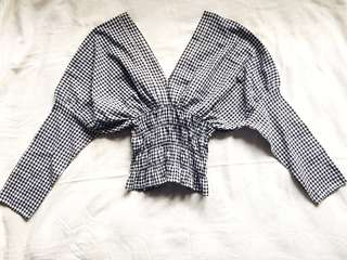 Plaid black and white blouse