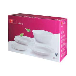 BORMIOLI ROCCO 20PC WHITE OPAL DINNER SET MADE IN SPAIN CHIP AND BREAK RESISTANT MICROWAVE SAFE