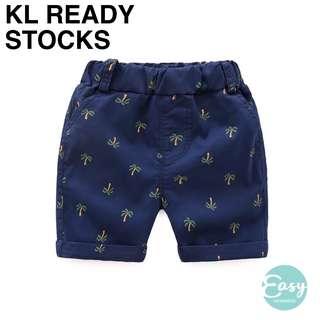 Child Kids Boy Summer Casual Knee Length Short Bottom Pants with Coconut Tree Design Navy Blue Khaki Colour
