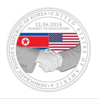 Trump Kim Summit Singapore Silver Medallion